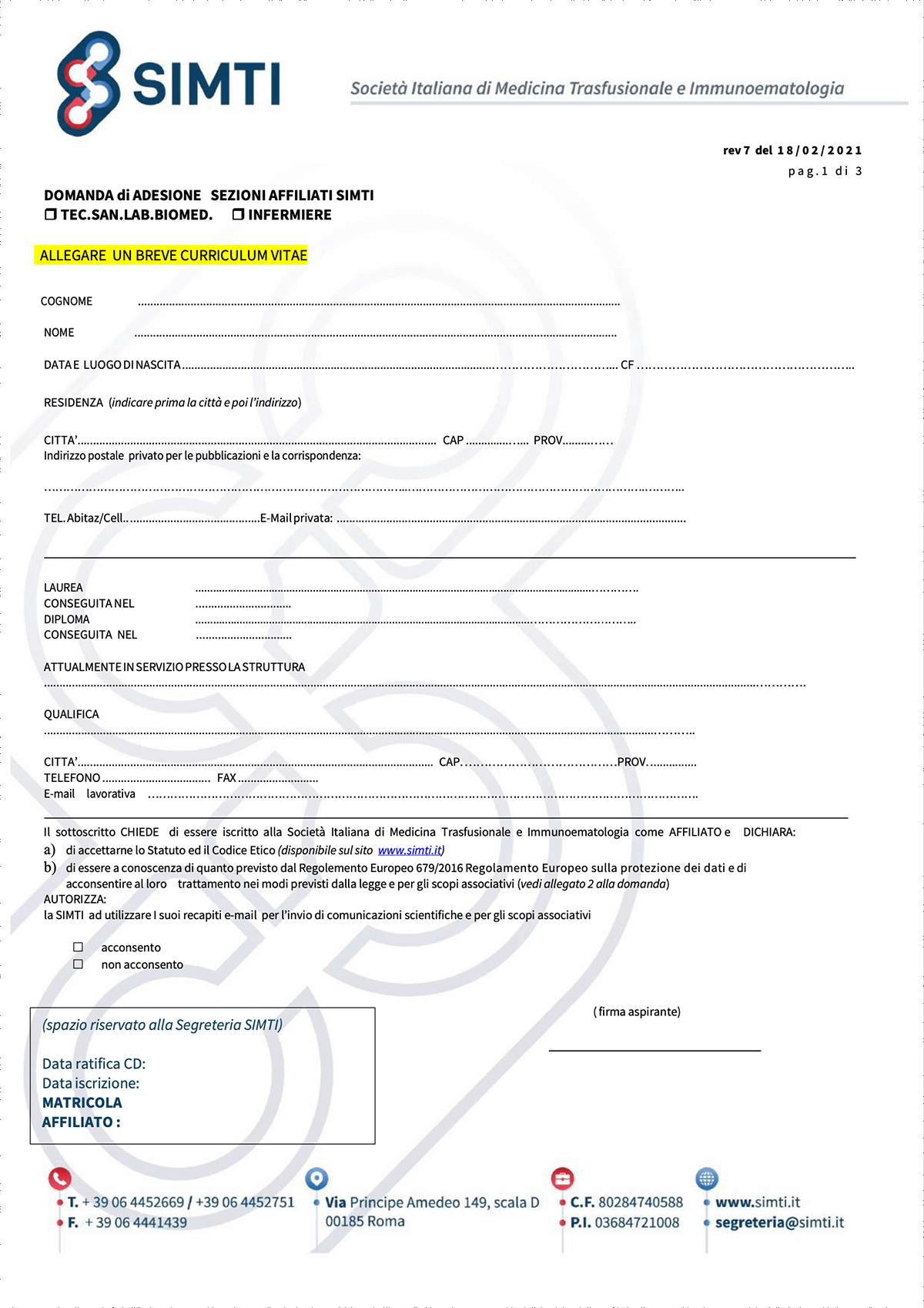 Preview Modulo iscrizione - Affiliati